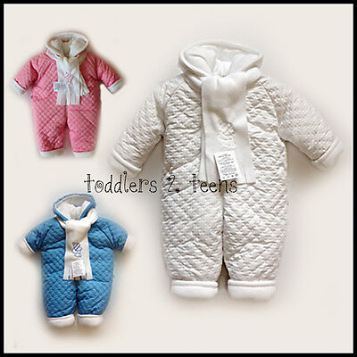 Baby Newborn Boy Girl White Snowsuit Hooded Padded Warm Winter 0 3 6 Months BNWT