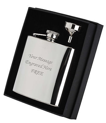 Personalised Engraved 6oz Hip Flask/Funnel Boxed Gift Set Wedding Groom Best Man