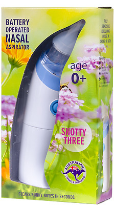 SNOTTY ONE Washable Nasal Aspirator Babies Infant Toddler ::Sucks Mucus:: Age 0+