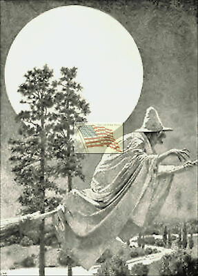 REPRINT PICTURE of old print HALLOWEEN MAXFIELD PARRISH WITCH APX 1915 5x7