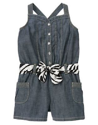 Gymboree Girl Size 6 Wild for Zebra One-Piece Romper with Fabric Belt NEW