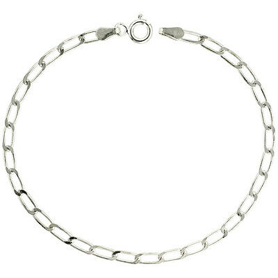 Sterling Silver Italian Long Link Curb Chain Necklace 1.5mm, 2.5mm, 3.0mm, 3.8mm