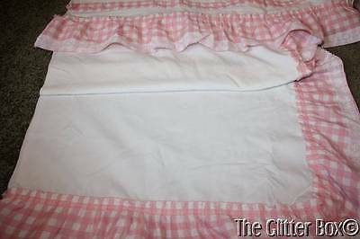 Shabby Cottage Chic Pink & White Plaid Cafe Curtain Panels (8) Valance L3