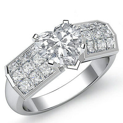 Huge Heart Diamond Invisible Engagement Ring GIA H SI1 14k White Gold 2.06 ct