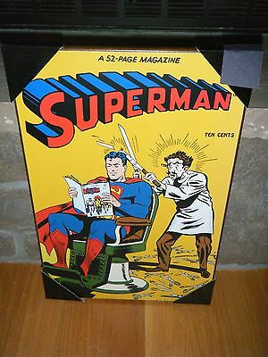 "VINTAGE DC SUPERMAN COMIC 1946 #38 COVER SHEER MADNESS 13"" X 19"" WOODEN WALL ART"