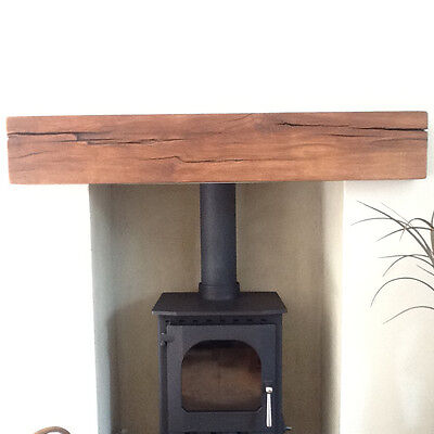 "4"" x 4"" SOLID FRENCH OAK BEAM MANTEL FIRE PLACE SURROUND INGLENOOK (MANTEL)"