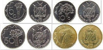Namibia 5 & 10 & 50 Cents & 1 Dollar 4 Uncirculated Coin Set