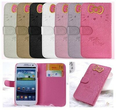 New Hello Kitty Leather Wallet Pouch Case Cover Skin for Samsung Galaxy S3 S4 S5