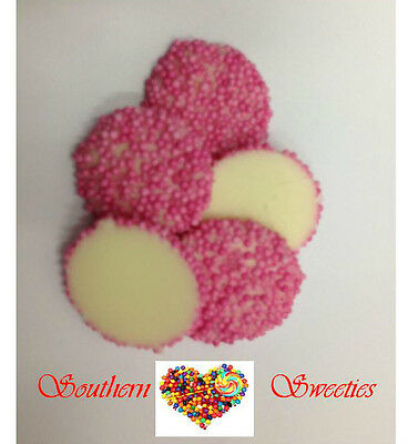 Pink Speckles On White Chocolate 1Kg Freckles Lollies Choc Candy Jewels