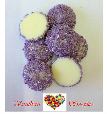 Purple Speckles White Chocolate 1Kg Freckles Lollies Choc Candy Jewels
