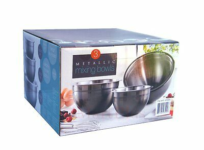6 Pc Metallic Mixing Bowls Set Lids &Non-slip Silicone Base 18/10 SS | Black New