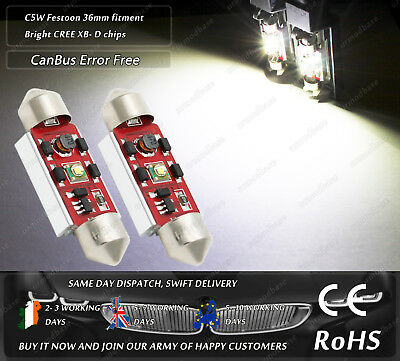 36mm 239 Festoon C5W LED Cree CanBus No Error 6000k Number License Plate Bulbs