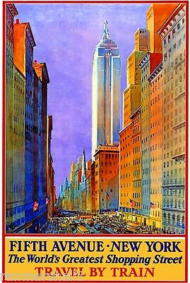 1930s Fifth Avenue New York Train Vintage Railroad Travel Advertisement Poster