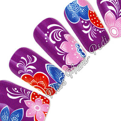 Nail Art Water Transfers Stickers Wraps Decals Tropical Flowers Pink White G080