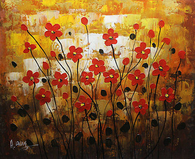 """ORIGINAL Modern knife style Abstract FLOWER Oil Painting Canvas Art 20X24"""" A2001"""