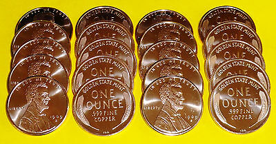 20 New 1909 Lincoln Cent Coins • 1 oz each .999 Copper Bullion