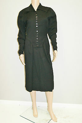 1930's Vintage Black Wool Long Sleeve Dress W/ Button Sleeves - Size 6 to 8