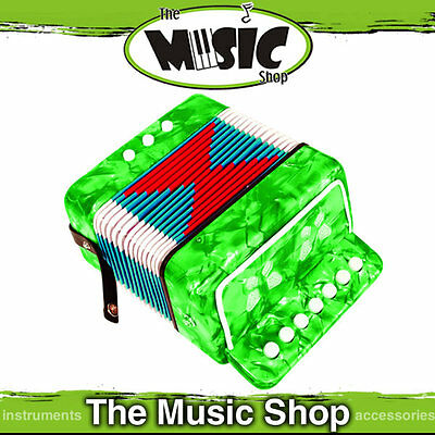 Brand New Junior Button Accordion in Green Pearl - 7 Treble & 2 Bass Buttons