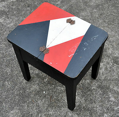 Vintage Antique Old Wooden Shoe Polish Table Stool Stand Shabby Chic Art Object