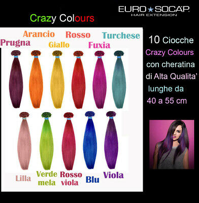 eurosocap hair extension da 10 a 100,CIOCCHE,CRAZY COLOUR, da 40 a 55 cm REMY