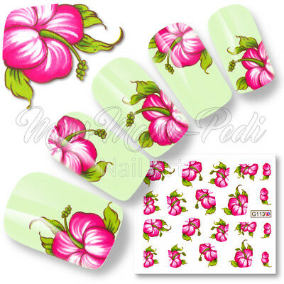 Nail Art Water Transfers Decals Stickers Tropical Pink Hibiscus Flowers G113