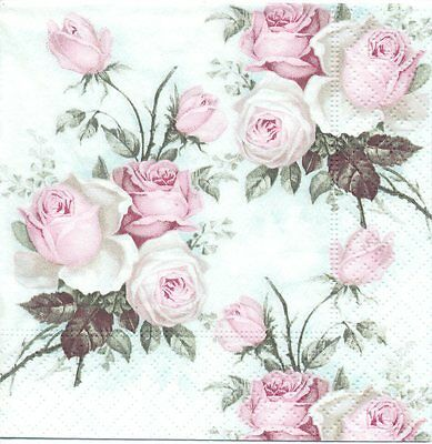 3 Serviettes en papier Cocktail Vieille Rose Sagen Vintage Paper Napkins Flowers
