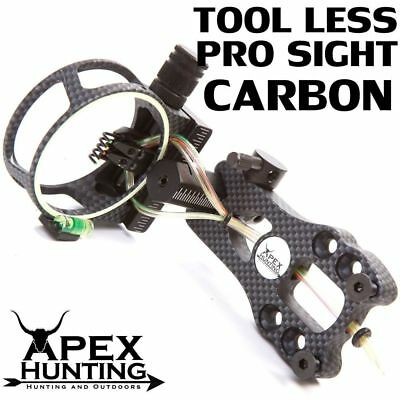 CARBON TOOL-LESS PRO SIGHT 5-PIN FIBRE OPTIC SIGHT FOR COMPOUND BOW w/ LED LIGHT