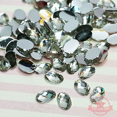 15 pcs 4 x 6mm Resin Rhinestone Flat back Faceted Oval Clear Crystal Nail art