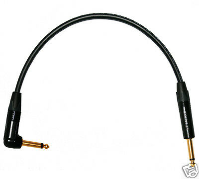 Unbalanced GOLD Mono Jack to Angled Jack Patch Lead. Flexible Van Damme Cables.