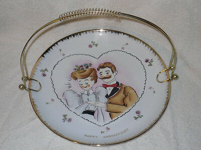 Vtg Norcrest Japan Hand Painted Anniversary Brass handled Tray Dish Plate