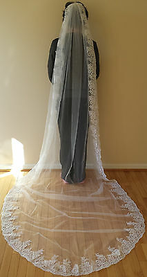 Clearence -- 1T CATHEDRAL WEDDING VEIL WITH LACE EDGE (10 FT LONG) - WHITE