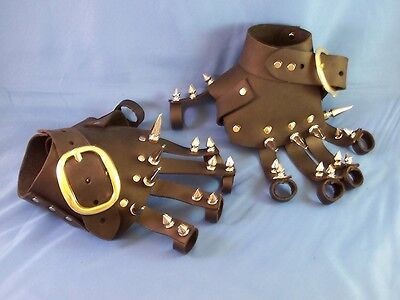 Black Leather Spike Gauntlets Gothic Renaissance Steam Punk Gloves