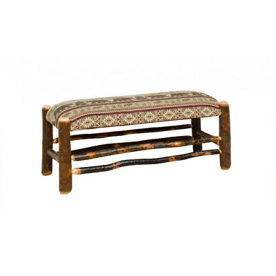 Pleasing Amish Hickory Log Entryway Storage Bench Seat Upholstered Machost Co Dining Chair Design Ideas Machostcouk