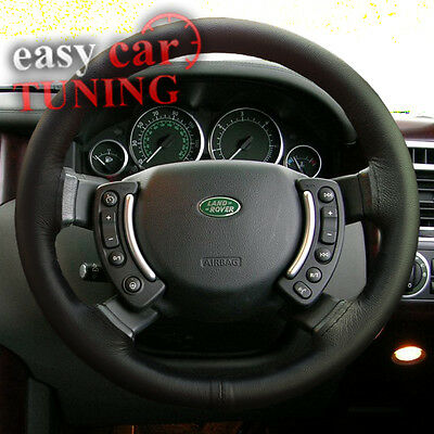 For Range Rover 2002 - 2012 Black Real Genuine Leather Steering Wheel Cover