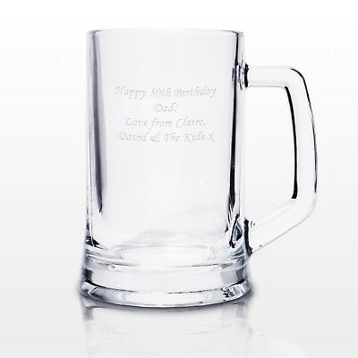 Personalised Glass Pint Tankard - Engraved Free - Birthday Gift, Anniversary