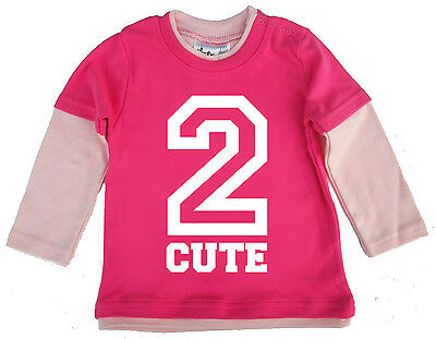 """Dirty Fingers Baby Skater Top """"2 Cute"""" 2nd Second Birthday Gift"""