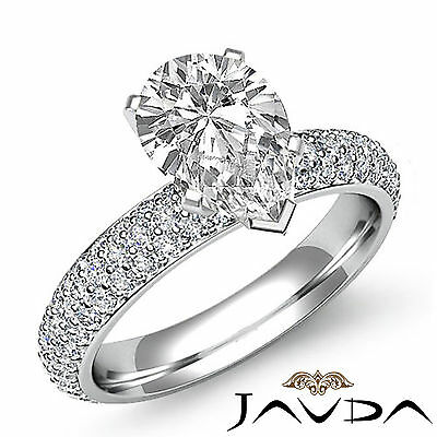 Brilliant Cut Pear Diamond Pave Engagement Ring GIA I SI1 14k White Gold 2.08 ct