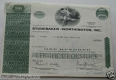 Stock Certificate For Studebaker-Worthington , Inc 1970
