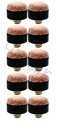 10 x 10mm High Quality Leather, Snooker-Pool-Billiard Brass Screw on Cues Tips