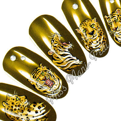 Nail Art Water Transfers Decals Stickers Wraps Cats Tigers Leopards Cheetah K081