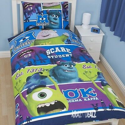 Disney Monsters University Inc Single Duvet Cover Bed Set Mike Sully Oozma Kappa