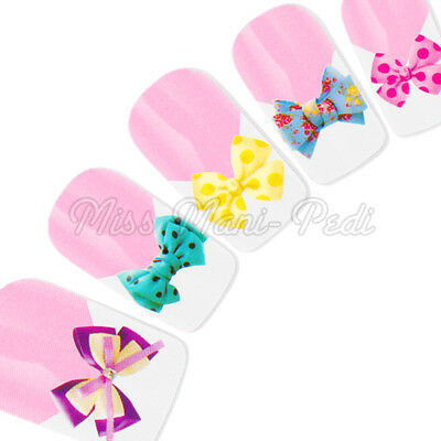 Bow Nail Stickers Water Decals Nail Decals Transfers Polka Dot Floral Bows Y173