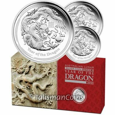 Australia 2012 Year Dragon Chinese Lunar Zodiac 3 Coin $1 Pure Silver Proof Set