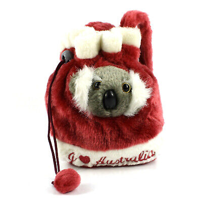 Australian Souvenir 3D Koala Head Childs Small Dilly Plush Bag Satin Lined