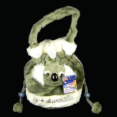 Australian Souvenir 3D Koala Head Childs Small Dilly Plush Bag Satin Lined Grey