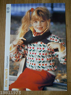 Vintage Knitting Pattern Childs 2Ply Cherry Motif Sweater To Knit