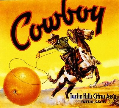 Tustin Cowboy #2 Orange Citrus Fruit Crate Box Label Art Print