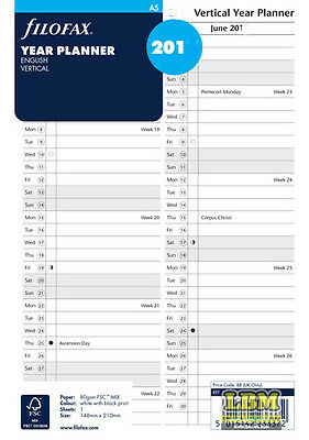 Filofax A5 size Year Planner - Vertical layout Diary Refill - choose year