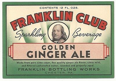 1930's Franklin Club Golden Ginger Ale Label - Chester, PA