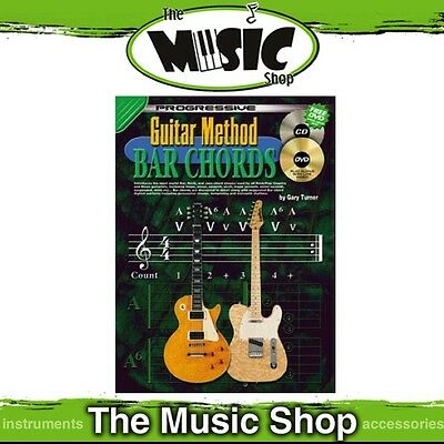 New Progressive Guitar Method Bar Chords Music Tuition Book with CD & DVD